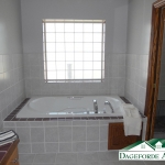 New master bathroom soaker tub and tile
